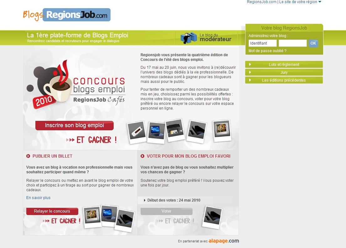 RegionsJob : le concours des blogs emploi 2010