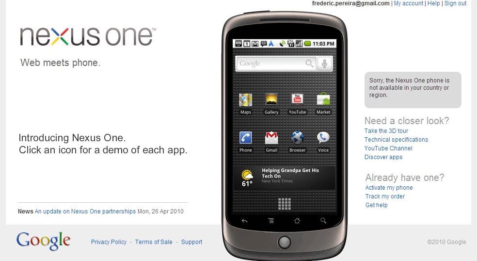 Google ne vendra plus le Nexus One !