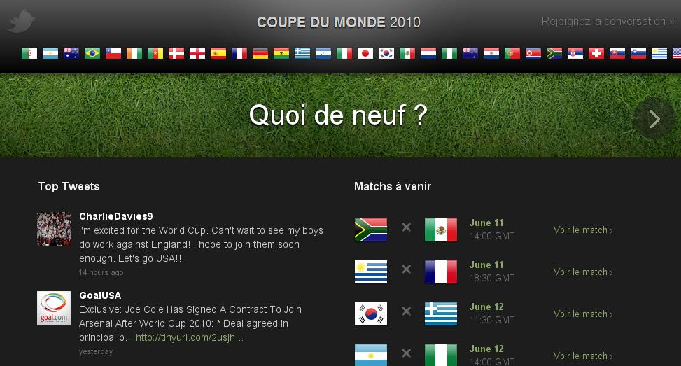 La Coupe du Monde 2010 sur Twitter