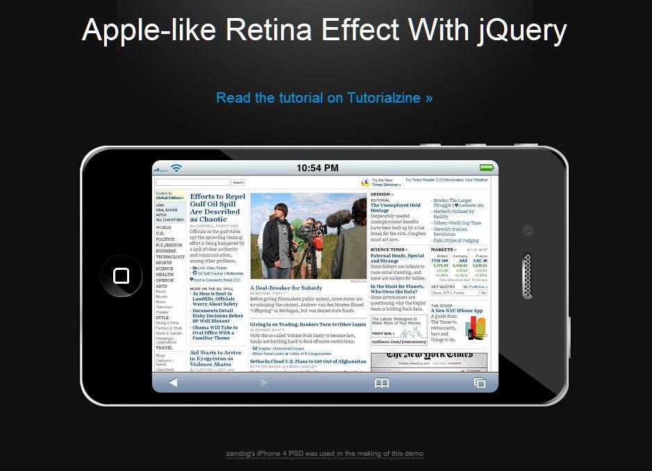L'effet Retina de l'iPhone 4 en jQuery