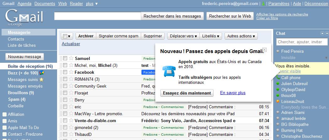 Téléphoner depuis Gmail, c'est aussi possible chez nous !