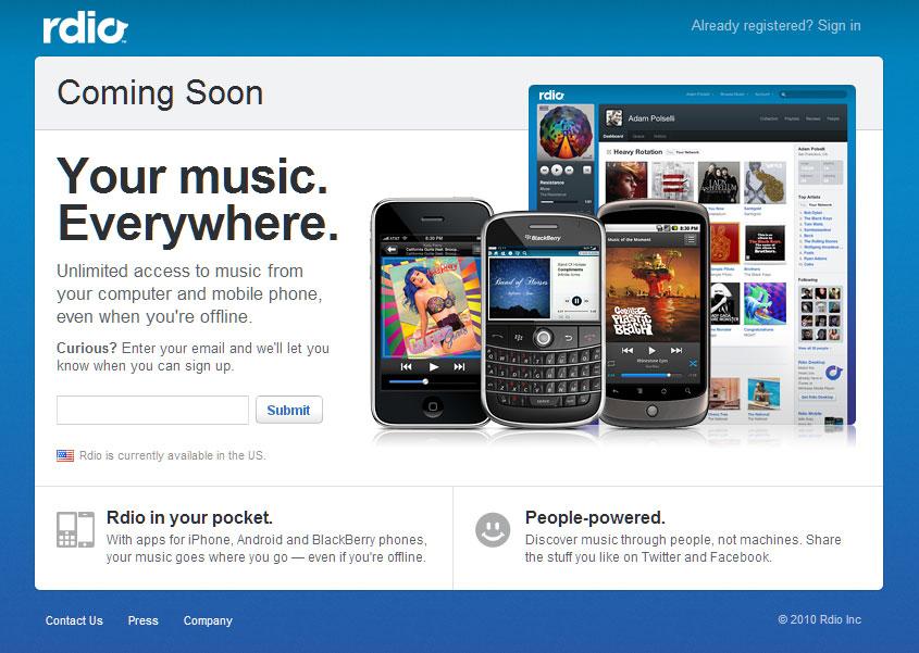 Rdio, le service d'écoute musicale en streaming, ouvre enfin ses portes aux U.S.A !