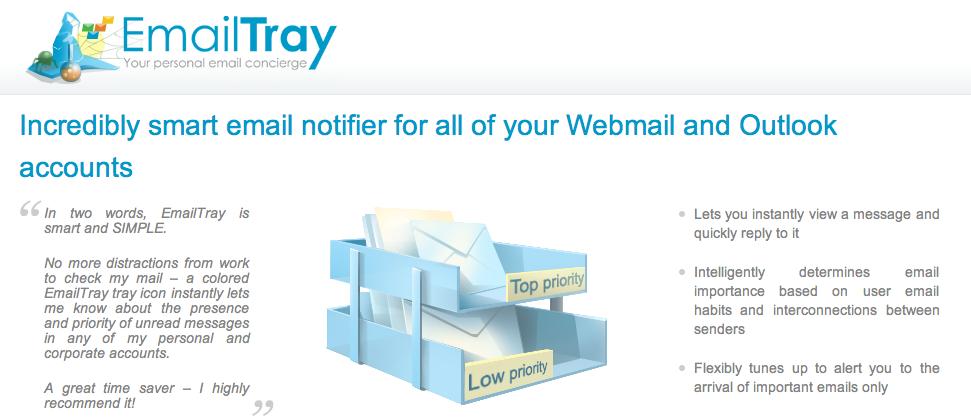 EmailTray, pour savoir quand on reçoit un mail