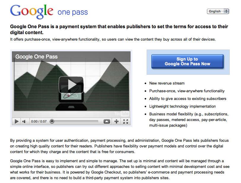 Google One Pass, un système d'abonnement pour les éditeurs de contenu