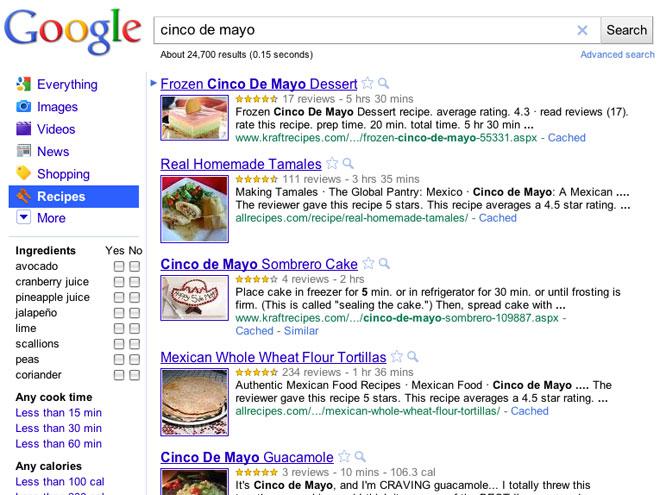 Google Recipes : trouve des recettes de cuisine !