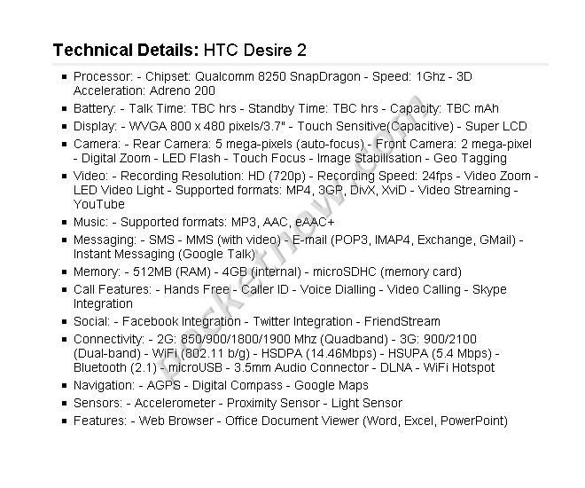 Leaké : les spécifications du HTC Desire 2