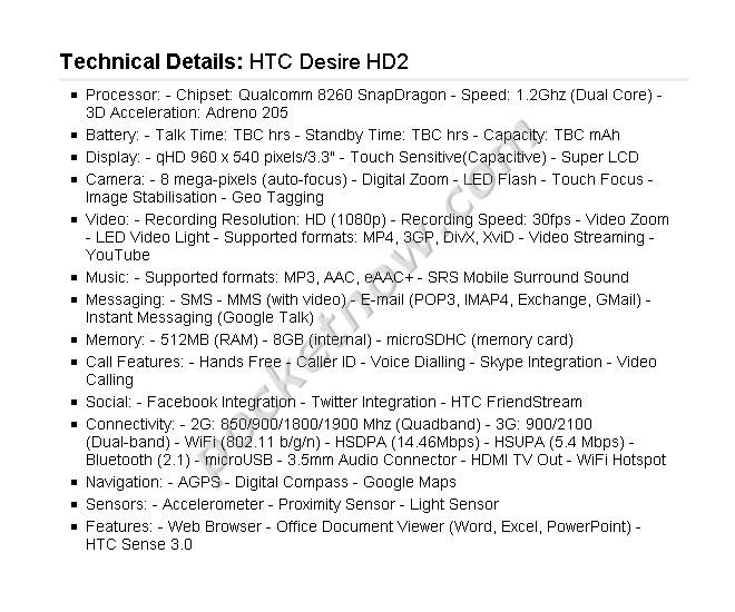 Leaké : les spécifications du HTC Desire HD2