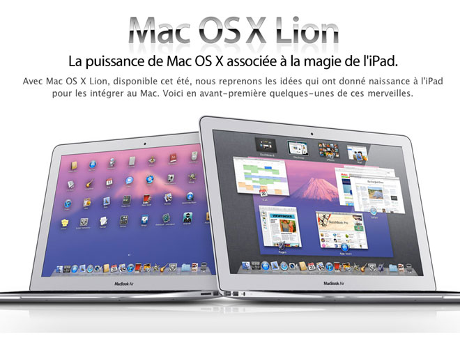 Apple : un aperçu de Mac OS X Lion