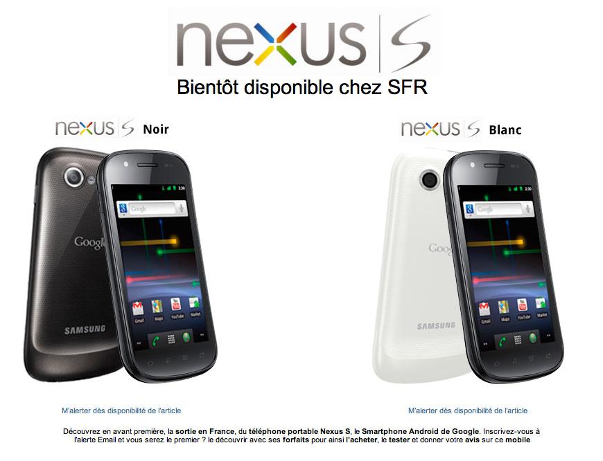 Le Nexus S annoncé avec du retard chez SFR !