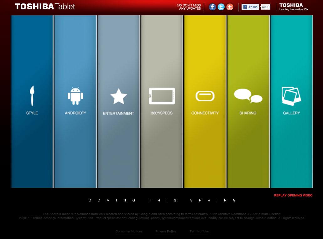 Toshiba : un site officiel pour la prochaine tablette tactile de la firme