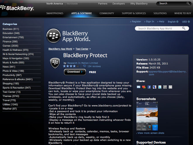 BlackBerry Protect, le MobileMe de BlackBerry