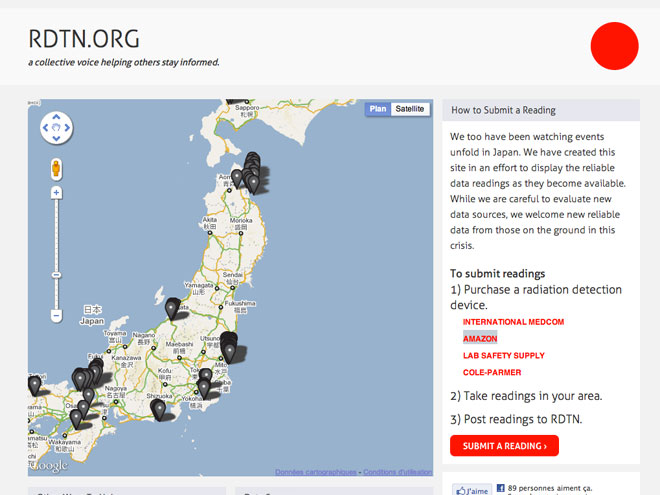 RDTN.org, une carte communautaire interactive pour surveiller les taux de radiation