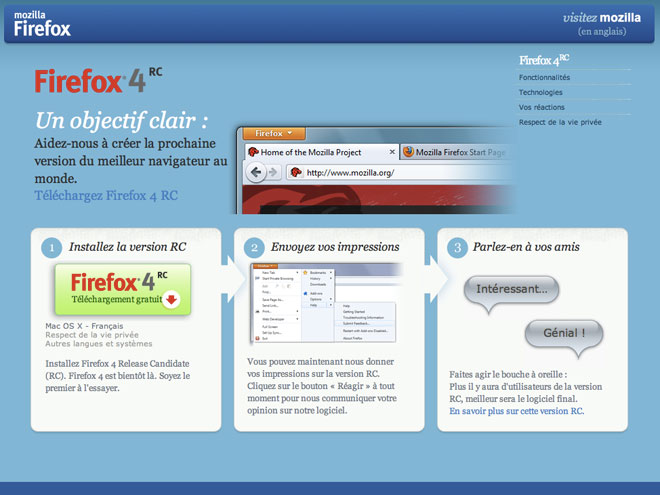 "Firefox 4 est disponible en version ""Release Candidate"""
