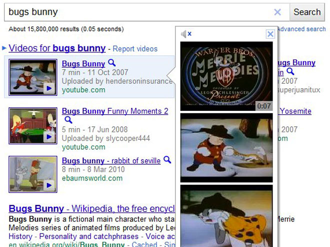 Google Instant Previews valable désormais pour les vidéos