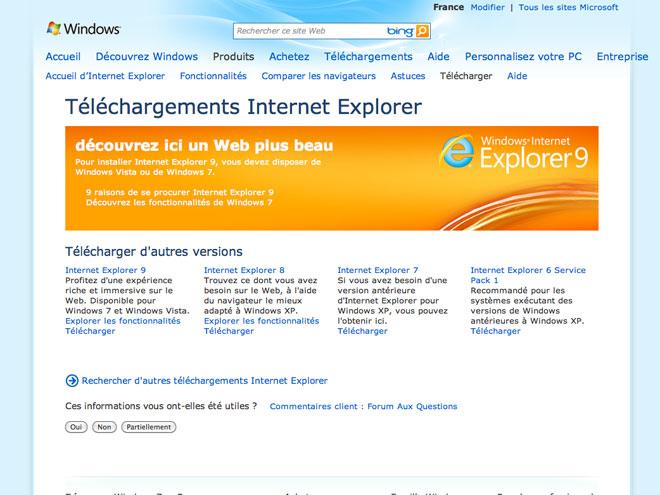 Internet Explorer 9 disponible au téléchargement !