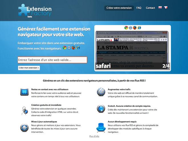 Extension Factory, pour créer une extension pour son site web