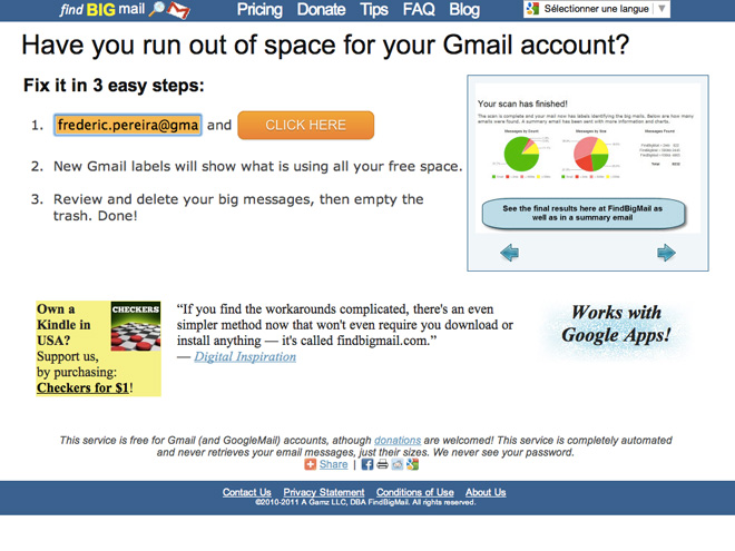 FindBigMail, pour trier vos mails selon leur poids