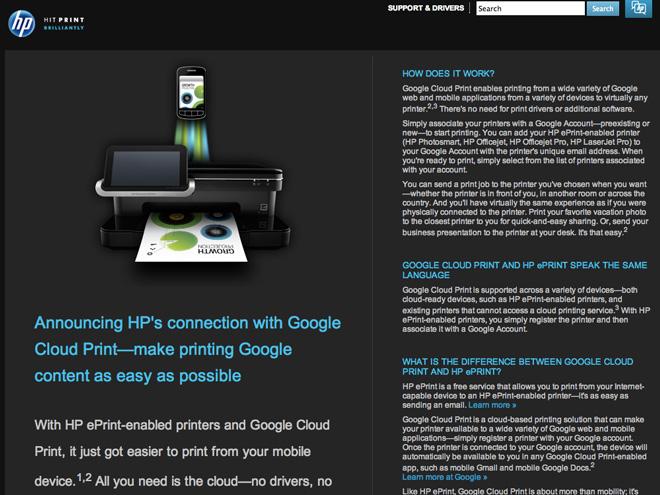 Google Cloud Print sera activé par défaut sur les HP ePrint