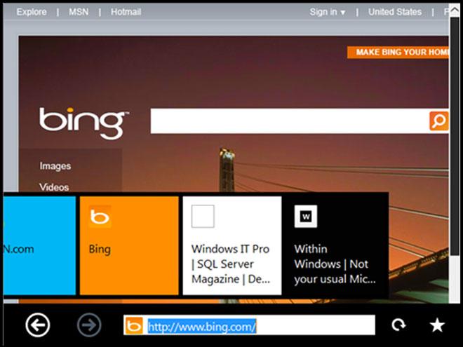 "Windows 8 : Internet Explorer ""Immersive"" en images"
