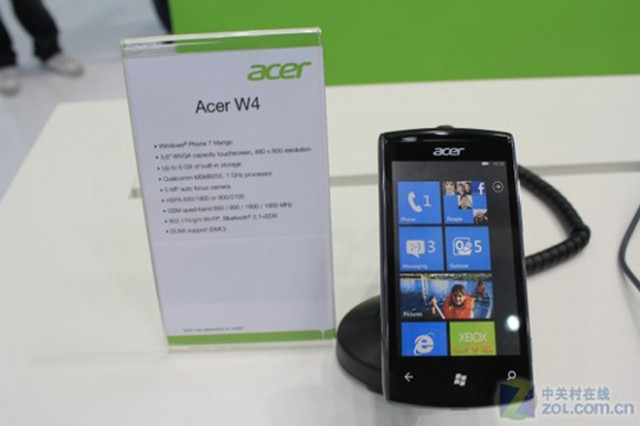 acer w4 un nouveau mobile sous windows phone 7. Black Bedroom Furniture Sets. Home Design Ideas