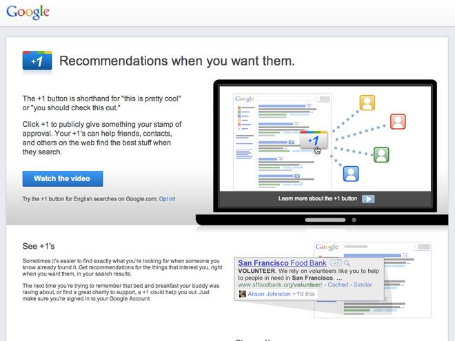 """Google : bientôt un bouton """"+1"""" pour nos sites"""