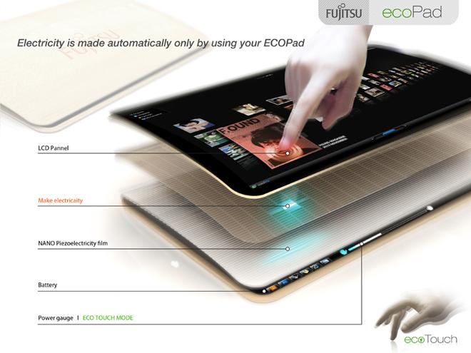 Concept : EcoPad, une tablette tactile qui se recharge toute seule