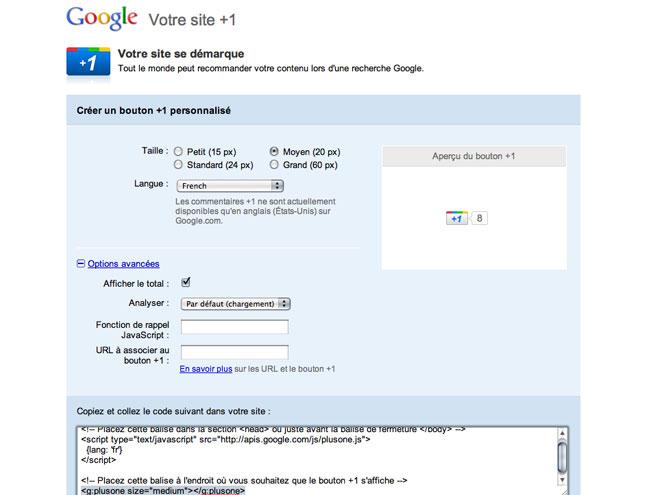 Google +1 : le bouton pour les sites est officiellement disponible