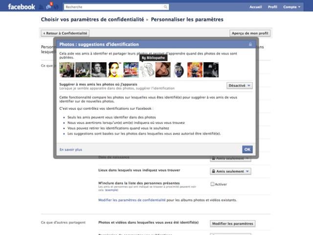 Désactiver la reconnaissance faciale de Facebook