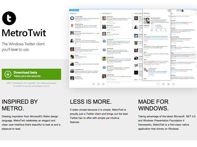 MetroTwit, un client Twitter inspiré de l'interface Metro de Windows 8