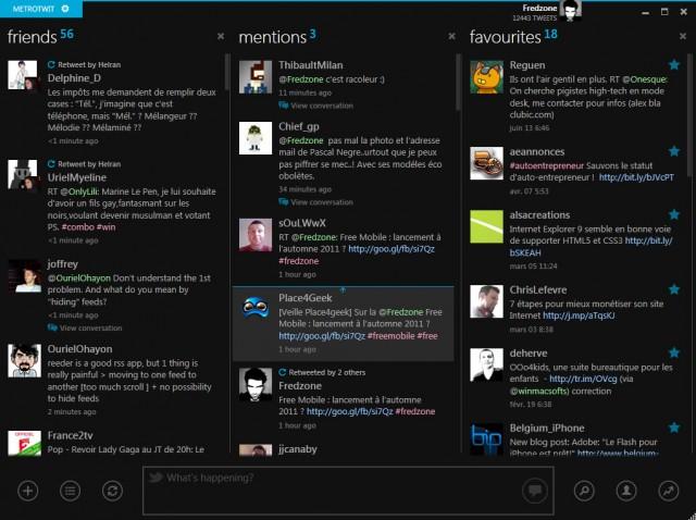 MetroTwit, un client Twitter inspiré de l'interface Metro de Windows 8