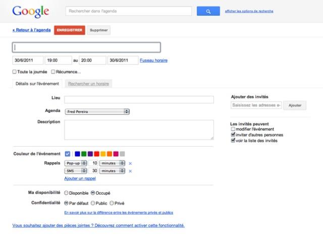 Un nouveau design pour Google Agenda