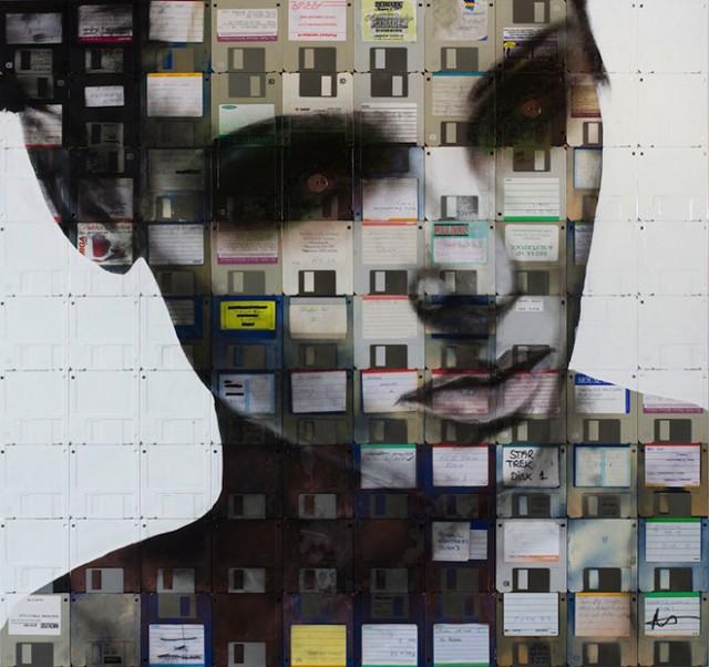 Des portraits réalisés avec des disquettes !