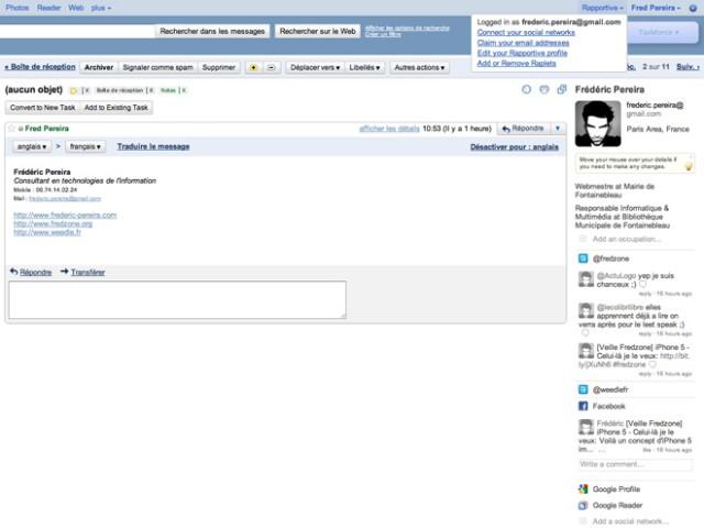 Rapportive, Twitter et Facebook dans ton Gmail !