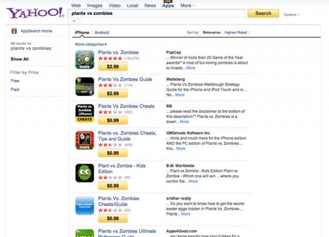 Yahoo vous aide à trouver des applications pour iOS et Android
