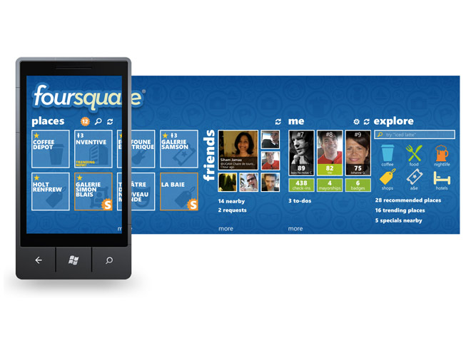 Foursquare est disponible sur Windows Phone 7