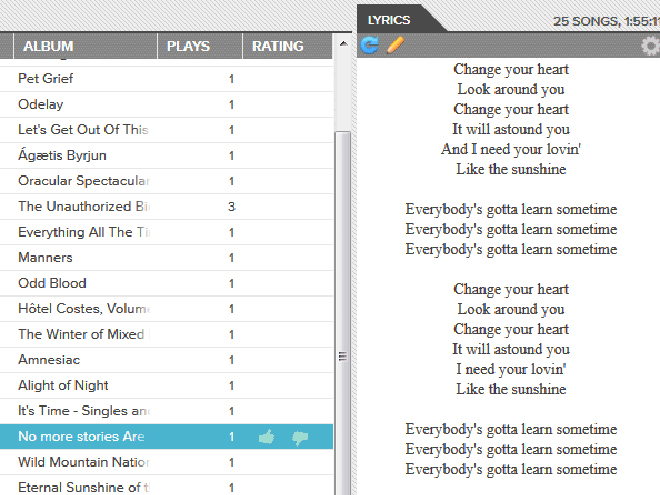 Google Music Lyrics, les paroles de tes chansons dans Google Music