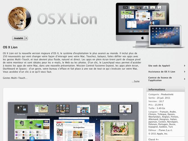 Télécharger Mac OS X Lion après l'avoir installé, c'est possible !