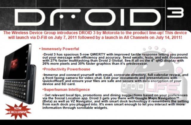 Motorola Droid 3 : lancement le 14 juillet chez Verizon