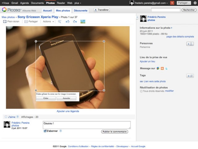 Picasa Albums Web est connecté à Google+