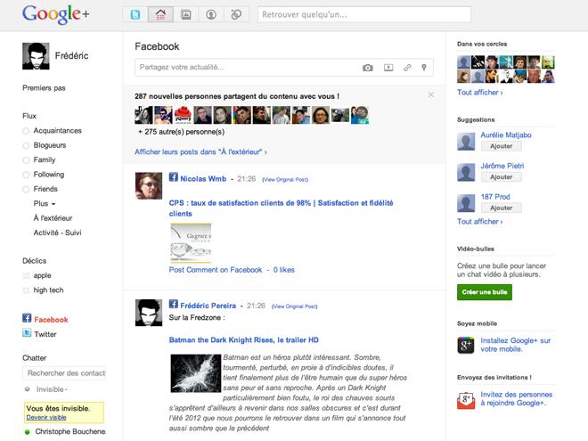 Utiliser Twitter et Facebook dans Google+