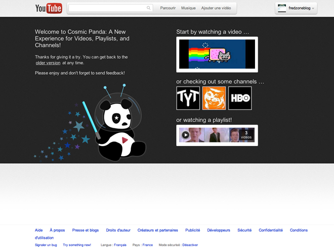 Essayez YouTube Cosmic Panda !