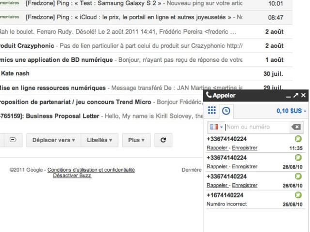 Les appels téléphoniques débarquent dans Gmail France !