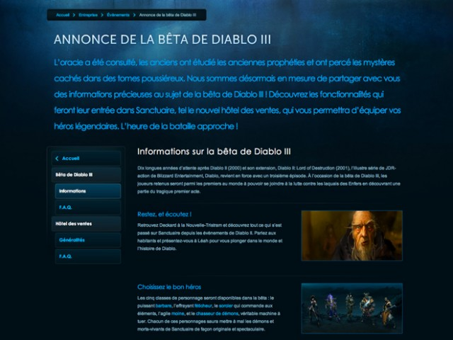 S'inscrire à la beta de Diablo 3, c'est maintenant possible !