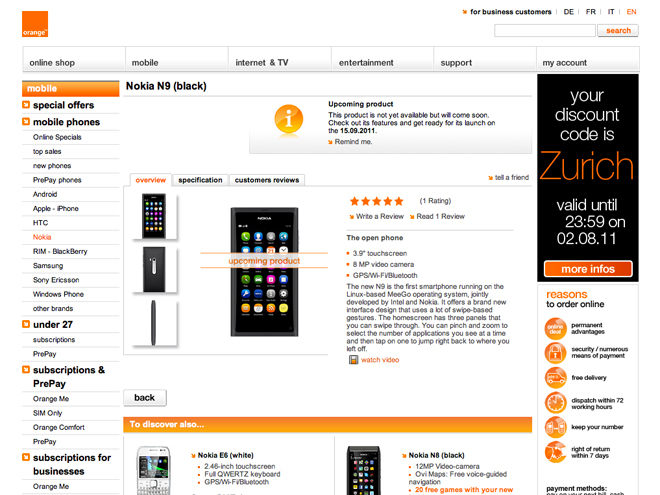 Nokia N9 : sortie le 15 septembre ?