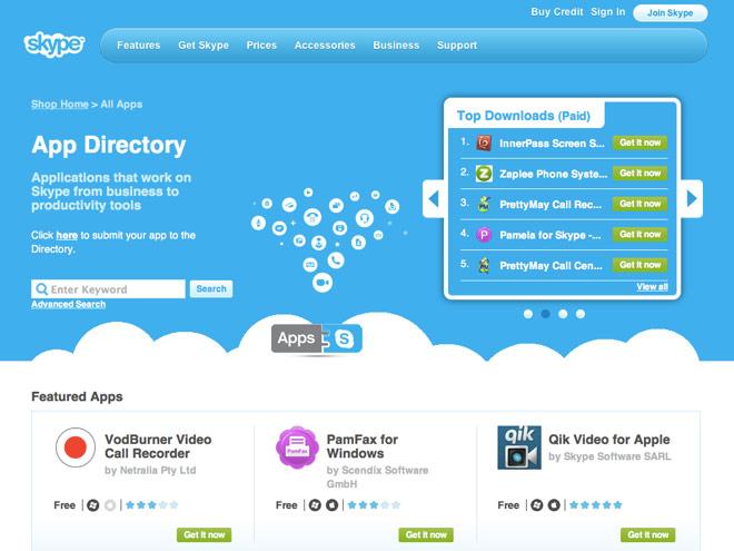 Un App Store pour Skype