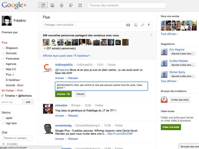 Intégrer Twitter à Google+ avec G+ Twitter