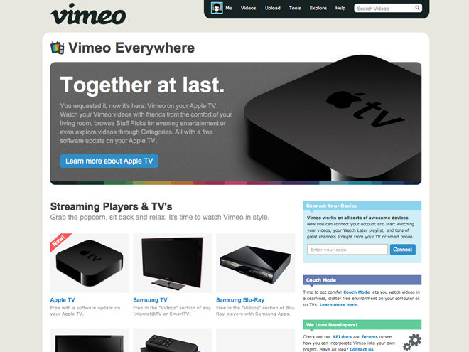 Vimeo Pro, Couch Mode et Apple TV