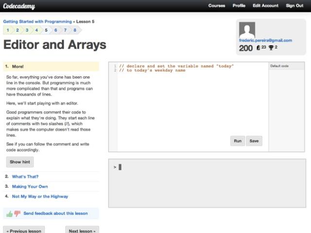 Codecademy, pour apprendre à coder dans son navigateur