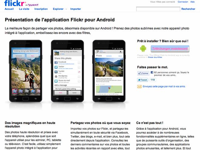 Flickr : l'application officielle disponible sur Android
