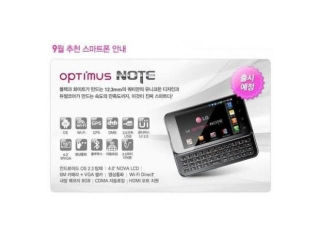 LG Optimus Note : écran de 4 pouces et clavier physique complet
